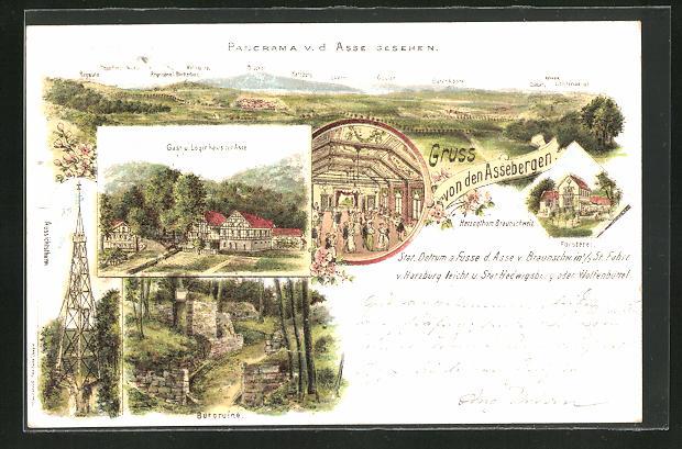 Lithographie Wittmar, Gasthaus zur Asse, Burgruine, Försterei, Panorama v. d. Asse gesehen
