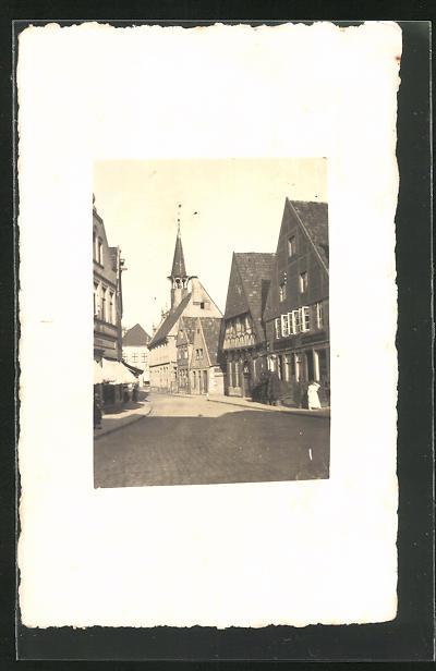 Foto-AK Münster, Blick in eine Altstadt-Strasse
