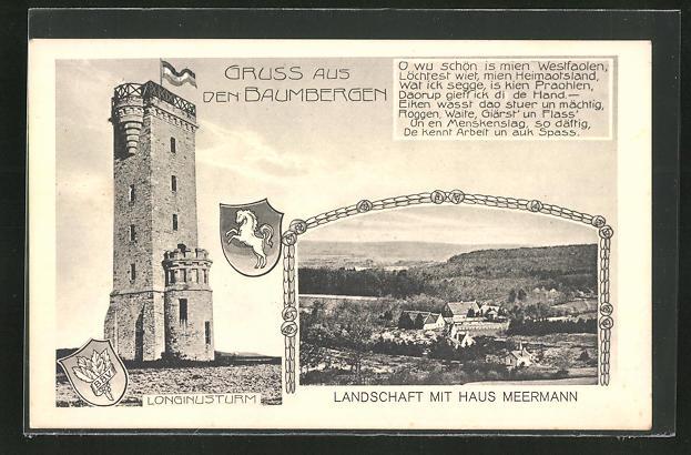 AK Nottuln, Longinusturm auf den Baumbergen, Blick auf Haus Meermann