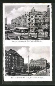 AK Gleiwitz, Wilhelmstrasse Ecke Wilde Klodnitz, Wilhelmstrasse mit