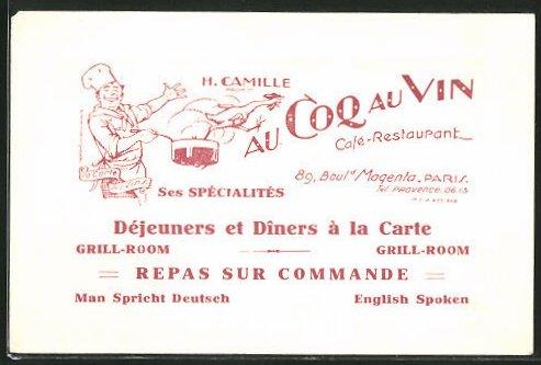 Vertreterkarte Paris, Café-Restaurant Au Coq Au Vin, 89 Boul d Magenta, Huhn springt Koch aus dem Topf