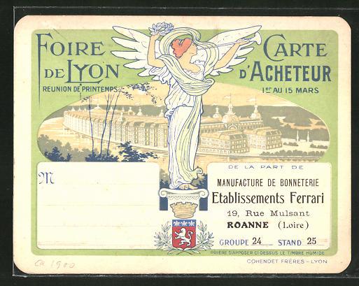 Vertreterkarte Roanne / Loire, Manufacture De Bonneterie, Etablissements Ferrari, 19 Rue Mulsant, Foire De Lyon, Engel