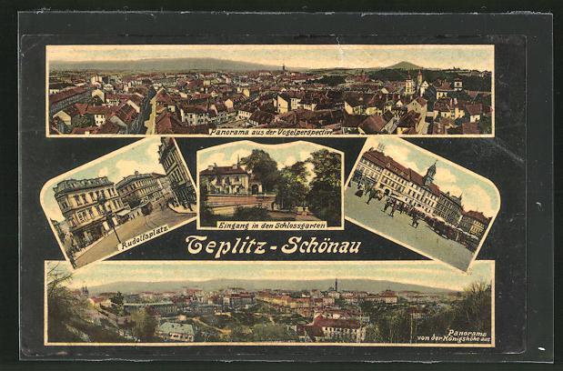 AK Teplitz Schönau / Teplice, Panorama, Eingang in den Schlossgarten, Rudolfsplatz