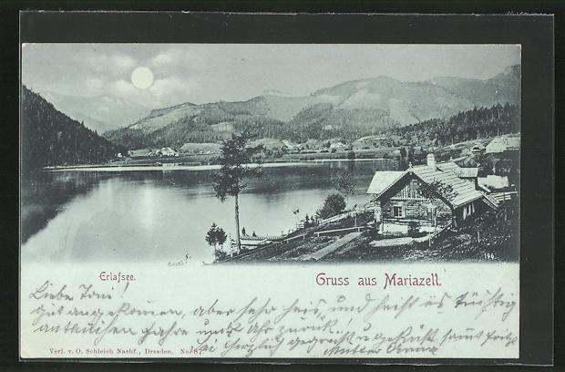 Mondschein-AK Mariazell, Ortsansicht mit Erlafsee
