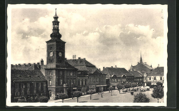 AK Schlan / Slany, Blick über dem Marktplatz