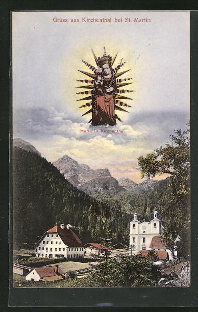 AK Kirchenthal, Teilansicht mit Kirche, Maria in Kirchenthal