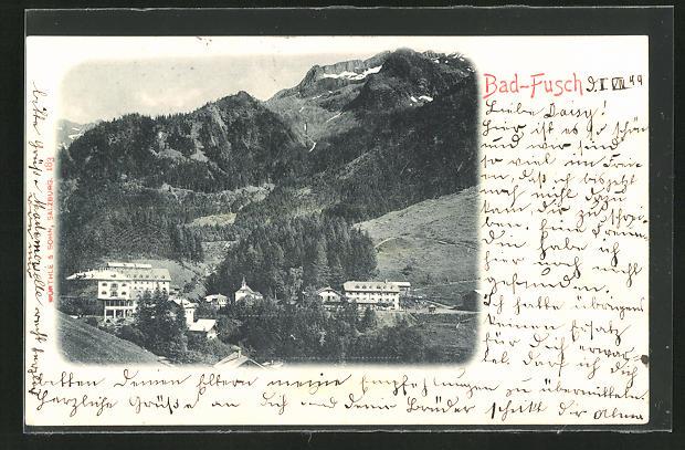 AK Bad Fusch, Teilansicht vom Berg aus