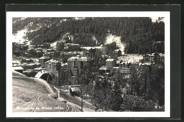 AK Badgastein, Ortsansicht im Winter