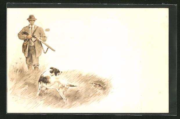 Lithographie Jäger, Jagdhund und versteckter Hase
