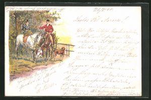 Künstler-Lithographie W. H.: Reiterin und Reiter mit Hunden, Treibjagd