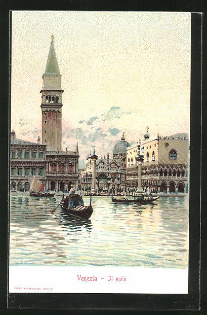 Sammelbild Loeflund's diaetische Präparate, Venedig - Venezia, Il molo, Gondel vor dem Dogenpalast