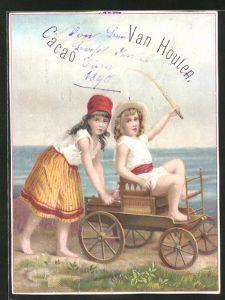 Sammelbild Cacao Van Houten, Mädchen spielen mit Bollerwagen