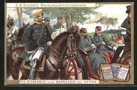 Sammelbild Knorr Nahrungsmittelfabriken, Reichskanzler Bismarck gibt Napoleon III. bei Sedan geleit