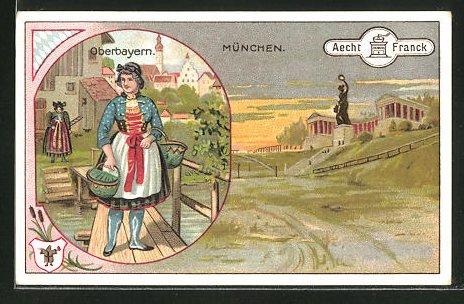 Sammelbild Aecht Franck Kaffee, München, Frau in Tracht aus Oberbayern, Bavaria mit Ruhmeshalle