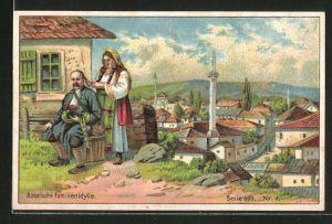 Sammelbild Bückeburg, Margarine der Kronenwerke AG, Paar aus Bosnien in Tracht