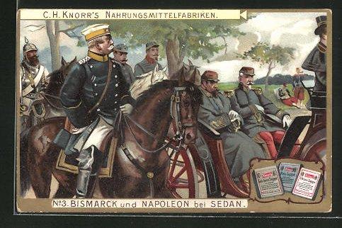 Sammelbild Knorr Nahrungsmittel, Reichskanzler Bismarck & Napoleon III. bei Sedan