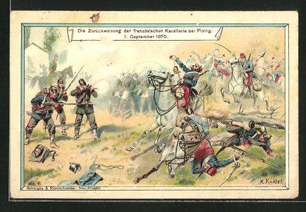 Sammelbild Seelig's Sternkaffee, Krieg 1870 /71, Zurückweisung der französischen Kavallerie bei Floing 1870