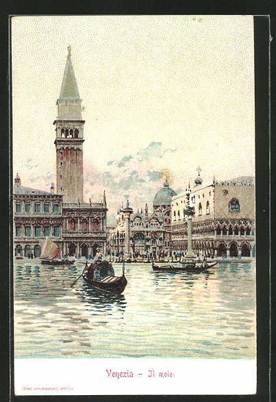 Sammelbild Loeflund's diaetische Präparate, Venedig-Venezia, Il molo, Gondeln auf dem Canal Grande vor dem Dogenpalast