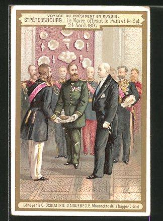 Sammelbild Chocolaterie D'Aiguebelle, St.-Petersbourg, Le Maire offrant le pain et le sel 1897