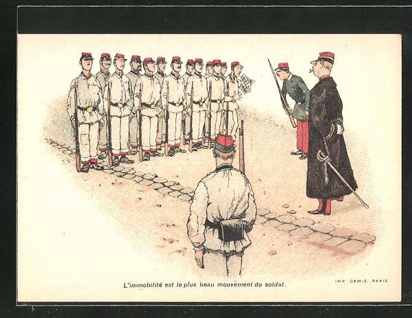 Sammelbild Amidon Hoffmann, französische Rekruten beim Appell