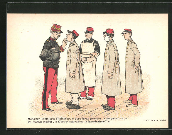 Sammelbild Amidon Hoffmann, französische Rekruten beim Zahnarzt