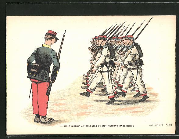 Sammelbild Amidon Hoffmann, französische Rekruten marschieren