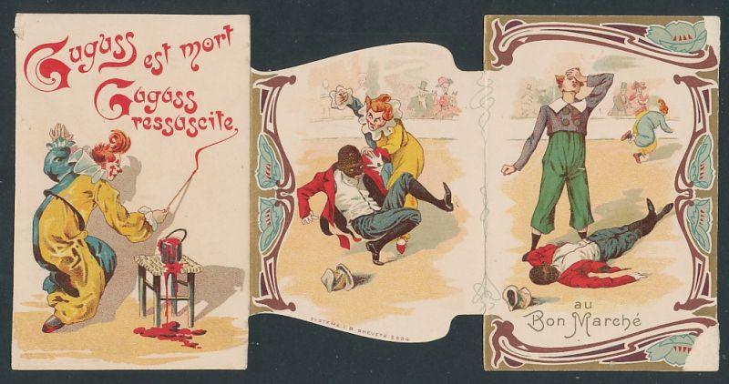 Klapp-Sammelbild Paris, Au Bon Marche, Zirkus-Clown's in einer Manege, Geschäftshaus rückseitig