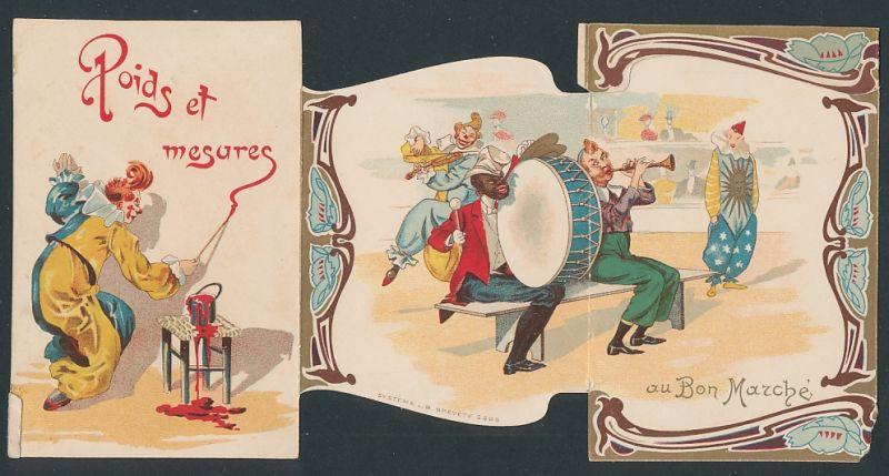 Klapp-Sammelbild Paris, Au Bon Marche, Zirkus-Clown's & afrikanischer Musikant in der Manege