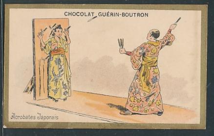 Sammelbild Chocolat Guerin-Boutron, japanischer Messerwerfer wirft auf eine Geisha