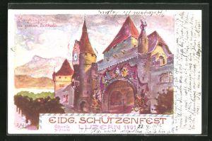 AK Luzern, Haupteingang zur grossen Festhalle, Eidg. Schützenfest 1901