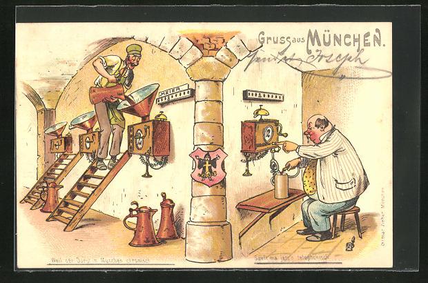 Lithographie München, Mann zapft sich sein Bier aus dem Telefon, Trinkerhumor