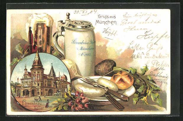Lithographie München, Restaurant Löwenbräu-Keller, Brotzeit mit Bier und Weisswurst