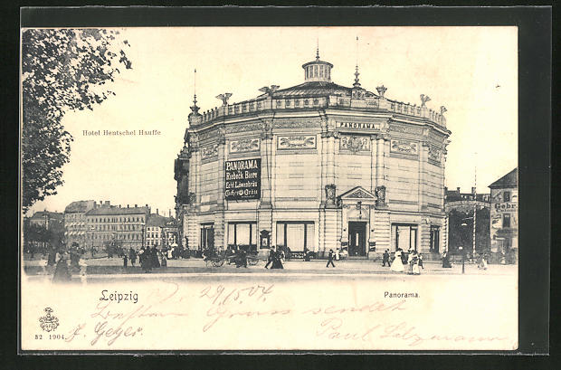 AK Leipzig, Panorama-Rundbau, Hotel Hentschel Hausse