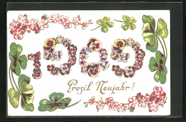 AK Jahreszahl 1909, Blüten und Klee,