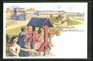 AK Saalburg b. Bad Homburg v. d. H., Ausgrabung, Praetorium, Ganzsache, PP9 F85 /03