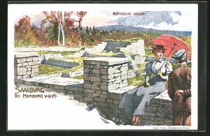 AK Saalburg b. Bad Homburg v. d. H., Ausgrabung, Römische Villa, Ganzsache, PP9 F85 /04