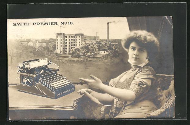 AK Frau mit Schreibmaschine Smith Premier No. 10