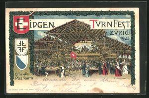 Lithographie Zürich, Eidgen. Turnfest 1903, Festhalle