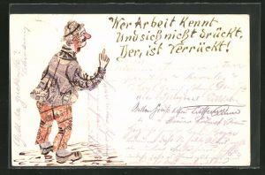 AK Mann als Briefmarkencollage