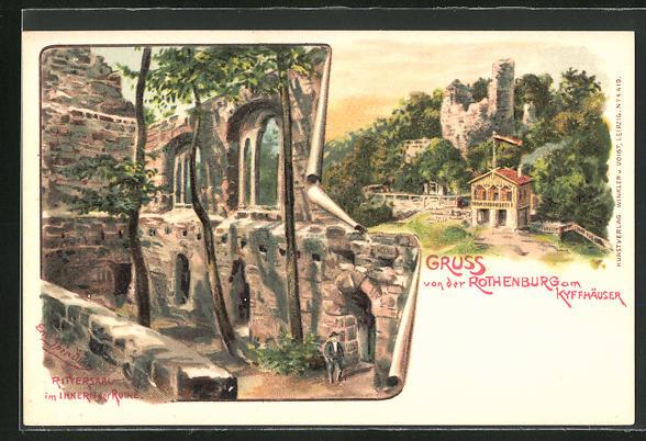 Künstler-AK Erwin Spindler: Rothenburg a. Kyffhäuser, Rittersaal im innern der Ruine