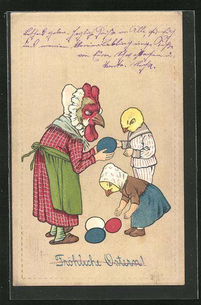 Präge-AK Fröhliche Ostern, vermeschlichte Henne mit Küken & Ostereier
