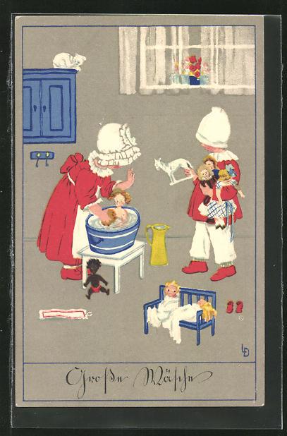 Künstler-AK Lia Döring: Mädchen beim waschen ihrer Puppe