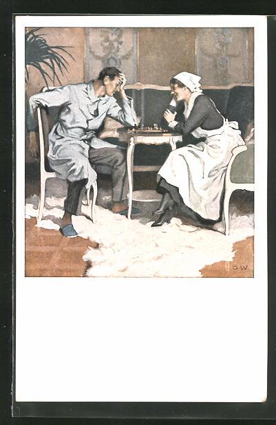 Künstler-AK Brynolf Wennerberg: Krankenschwester spielt mit Patient Schach