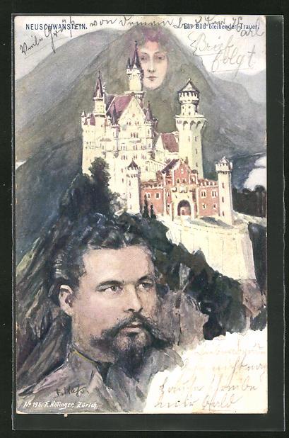 Künstler-AK Fritz Hass: Killinger Nr. 195: Neuscwanstein, Ein Bild bleibender Trauer, Berg mit Gesicht / Berggesichter