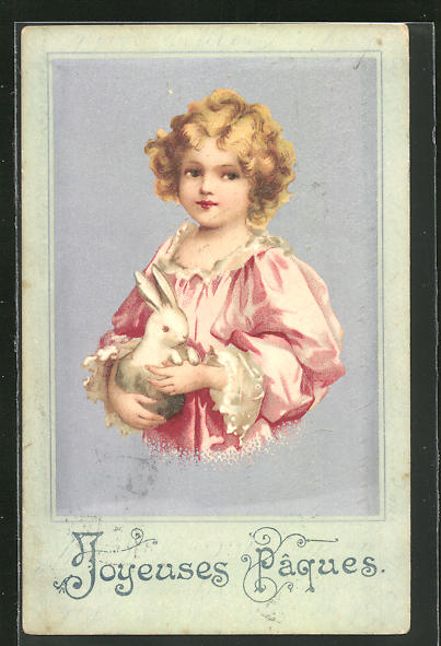 AK Blondes Mädchen mit Osterhasen im Arm