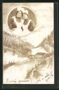 Foto-AK Bildnis zweier Dienstmädchen, Haus in einer Landschaft