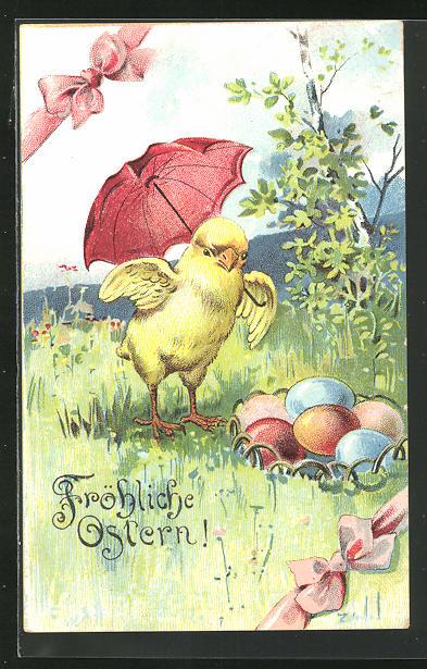 AK Osterküken mit rotem Regenschirm