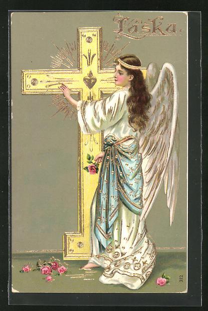 AK Engel bemalt ein Kreuz
