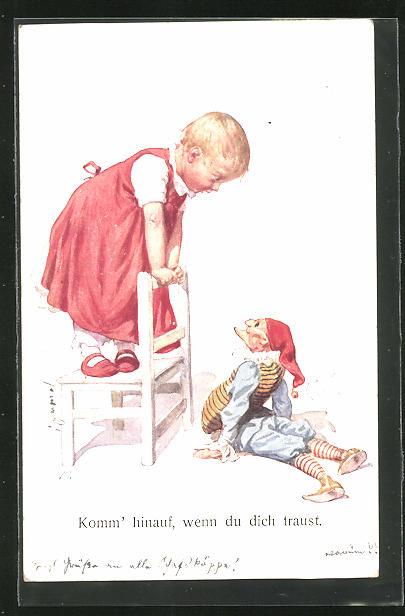 Künstler-AK Karl Feiertag: Mädchen im roten Kleid steht auf einem Stuhl und spricht mit der Puppe