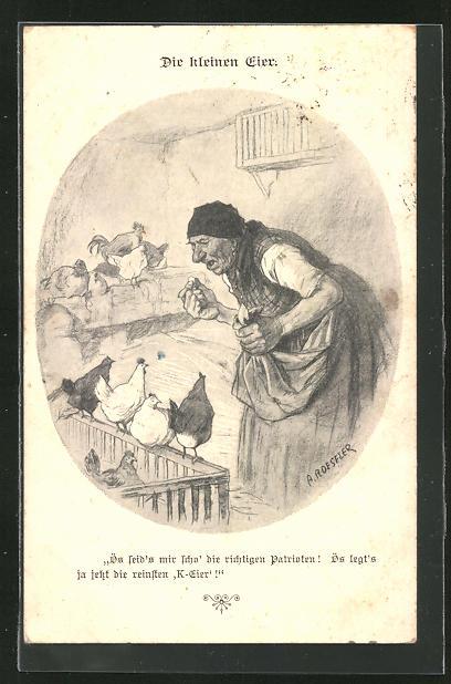 Künstler-AK A. Roeseler: die kleinen Eier, Bäuerin ist verärgert über ihre Hühner
